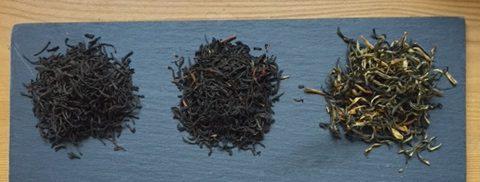 From left to right: Ceylon Kenilworth, Kenya Kaimosi, and Yunnan Gold